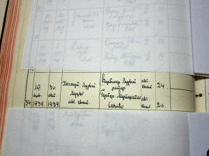 The birth record of Michelle's father, written in Cyrillic.  Helmut would have been 70 the week we visited his hometown.