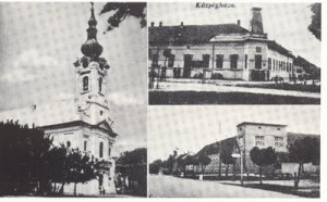 Sekitsdh postcard showing Evangelical Church and Town Hall (both no longer extant)